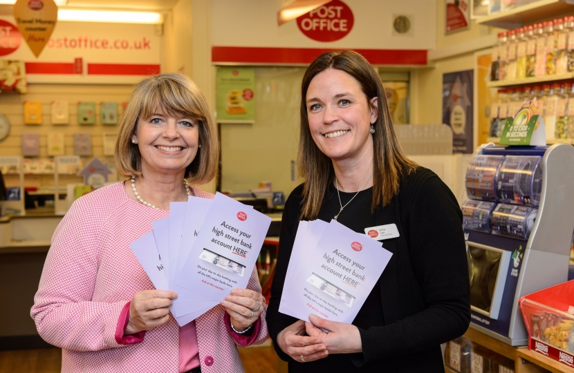 Picture Caption: Harriett Baldwin MP helps to promote banking services at Barnards Green Post Office with Jennifer Cain.